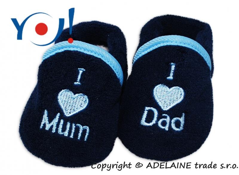 Botičky/ponožtičky YO ! I LOVE - tmavě modré, vel. 6-12m, s lemem, Velikost: 74 (6-9m)