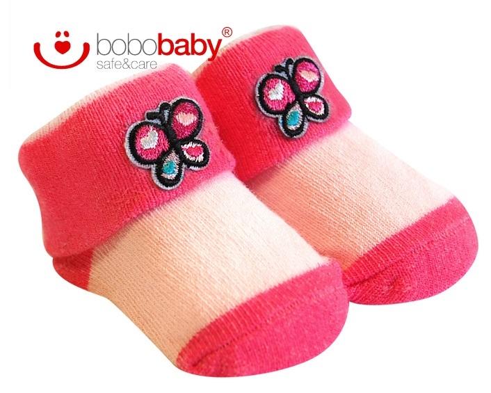 Kojenecké ponožky BOBO BABY - sv. růžové/růžové - motýlek