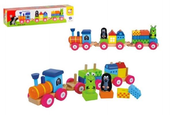 Vlak s domečky Krtek dřevo 19ks v krabici 43x10x10cm 18m+