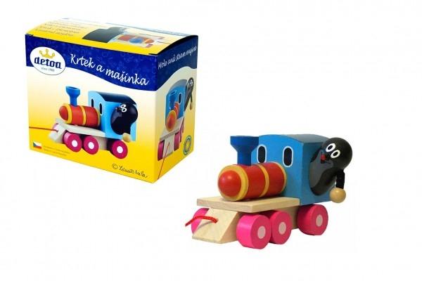 Krtek a mašinka/vlak dřevo 12cm tahací v krabičce