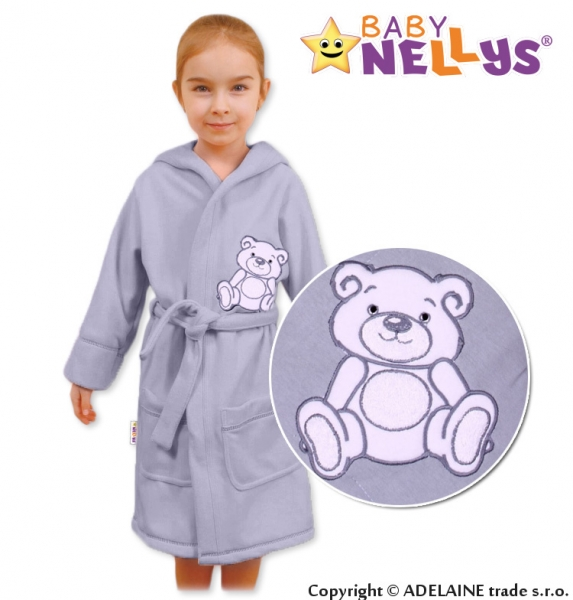 Baby Nellys Dětský župan - Medvídek Teddy bear - šedý