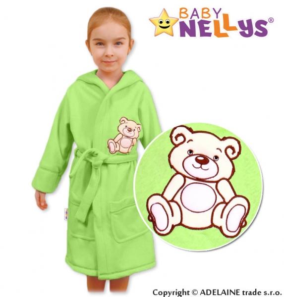Baby Nellys Dětský župan - Medvídek Teddy Bear - zelený