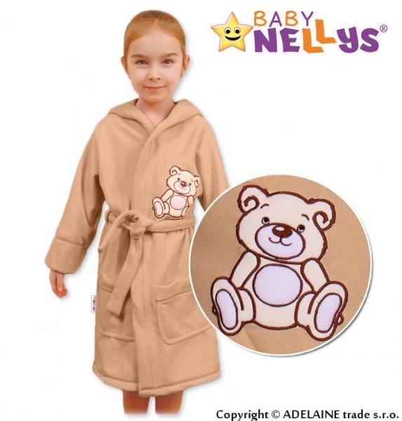 Baby Nellys Dětský župan - Medvídek Teddy Bear, 98/104 - béžový/kávový