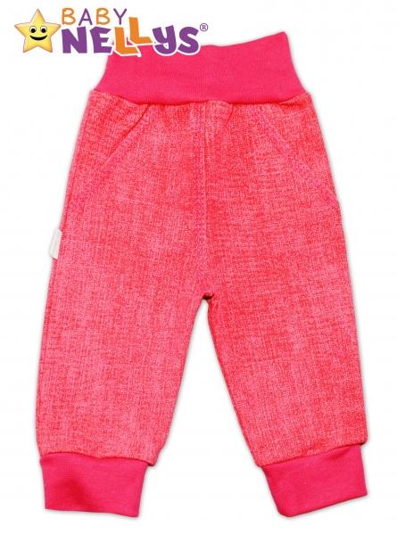 Bavlněné kalhoty Baby Nellys ® - jeans - růžové/malina, Velikost: 56 (1-2m)