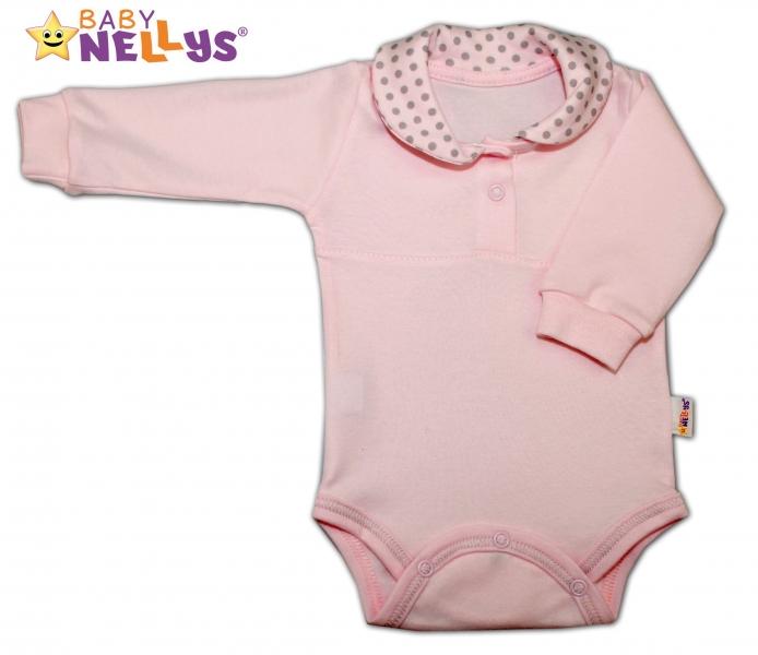 Body dlouhý rukáv Baby Nellys® s límečkem - PUNTÍKY - sv.růžové/sv. šedé puntíky, Velikost: 74 (6-9m)