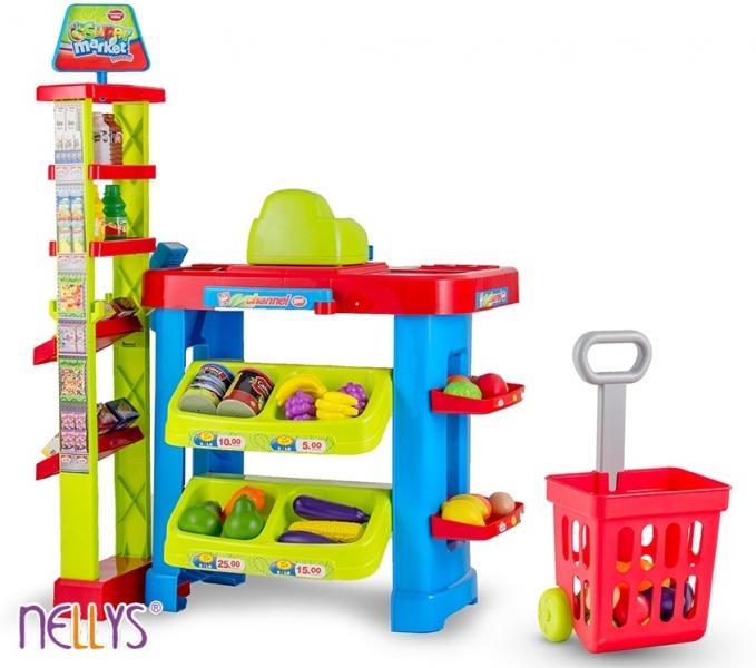 Dětský obchod s příslušenstvím (MINIMARKET s příslušenstvím - košík, pokladna, čtečka, zboží)