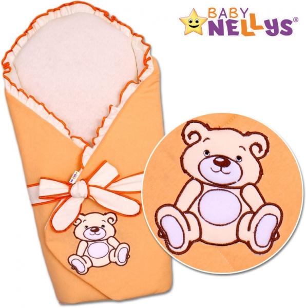Baby Nellys Zavinovačka s výztuží Teddy Bear - jersey - losos/meruňka
