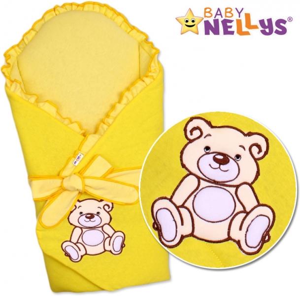 Baby Nellys Zavinovačka s výztuží Teddy Bear - jersey - krémově/žlutá