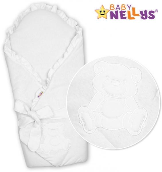 Baby Nellys Zavinovačka s výztuží Teddy Bear - jersey - bílá