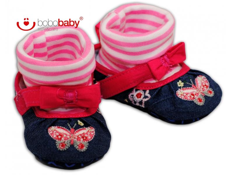 Balerínky capačky/botičky BOBO BABY - jeans/růžové