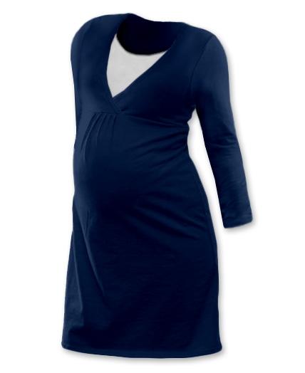 Těhotenská, kojící noční košile JOHANKA dl. rukáv - jeans