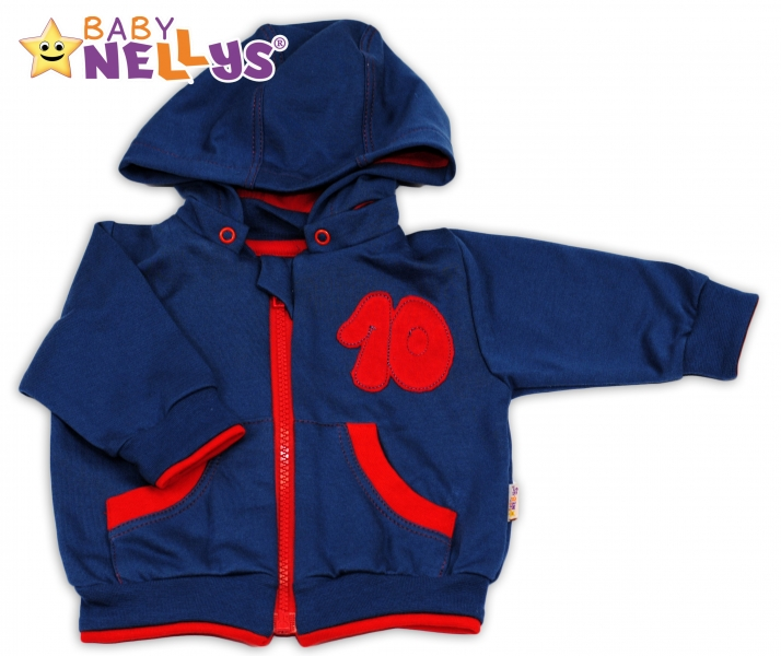 Mikinka s odepínací kapucí Baby Nellys® - modrá/červená