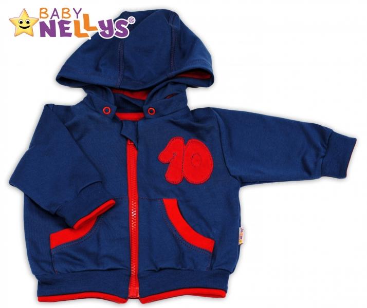Mikinka s odepínací kapucí Baby Nellys® - modrá/červená, Velikost: 68 (4-6m)