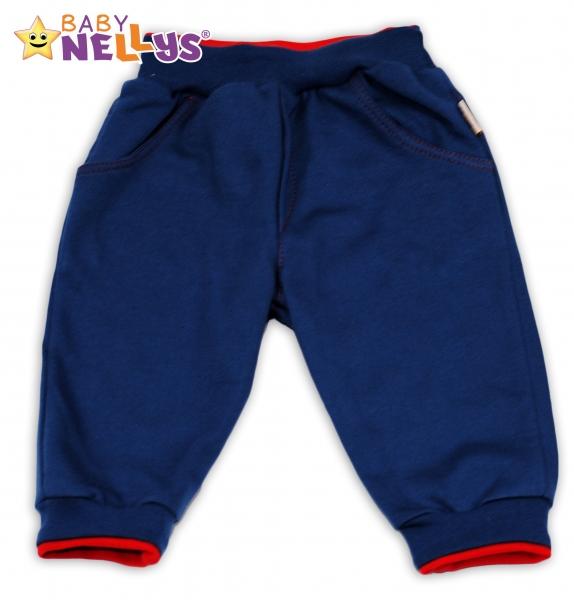 Tepláčky Baby Nellys® - modré/červený lem, Velikost: 74 (6-9m)