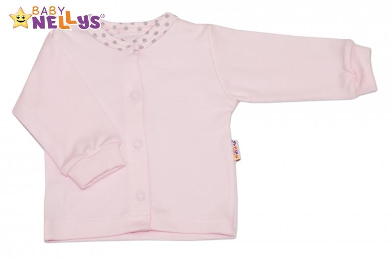 Bavlněná košilka Baby Nellys® PUNTÍKY - sv. růžový/sv. šedé puntíky, Velikost: 80 (9-12m)