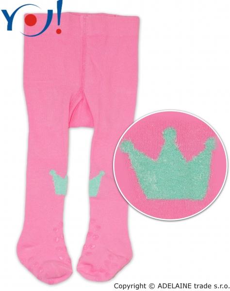 YO ! Bavlněné punčocháčky ABS na chodidle i nártu - růžové s korunkou