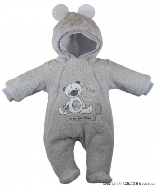 Baby Nellys Chlupáčkový overálek/kombinézka, vel. 68, SWEET BEAR - šedý