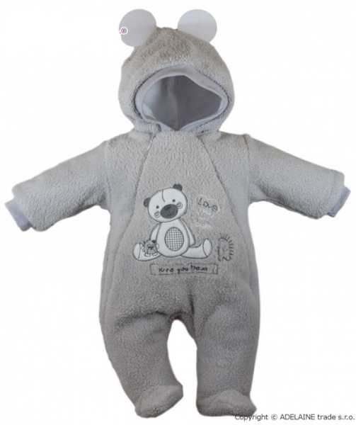Baby Nellys Chlupáčkový overálek/kombinézka, vel. 74, SWEET BEAR - šedý