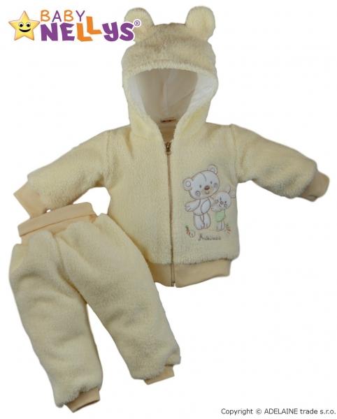 Chlupáčkový komplet OUŠKO Baby Nellys ® - krémový, Velikost: 80 (9-12m)