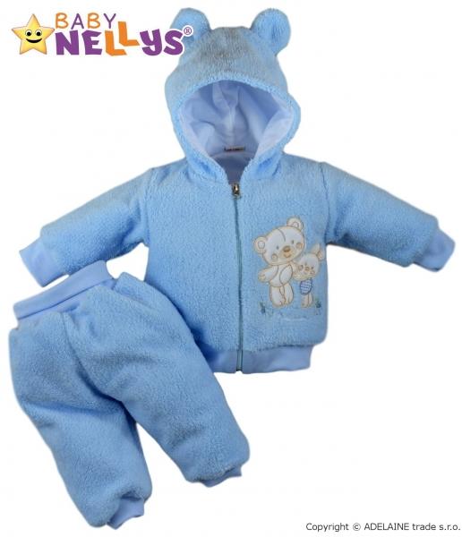 Chlupáčkový komplet OUŠKO Baby Nellys ® - modrý, Velikost: 80 (9-12m)