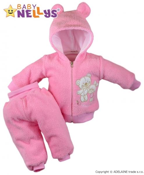 Chlupáčkový komplet OUŠKO Baby Nellys ® - růžový