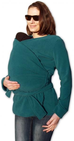 JOŽÁNEK Zavinovací kabátek pro nosící, těhotné - fleece - petrolejový