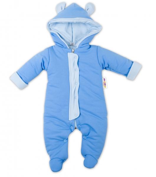 Oteplený overálek/kombinézka s kapuci a oušky Baby Nellys ® - modrý, Velikost: 62 (2-3m)