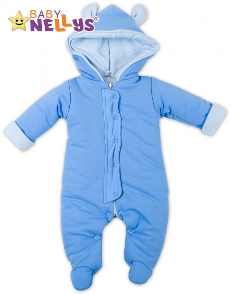 Oteplený overálek/kombinézka s kapuci a oušky Baby Nellys ® - modrý, vel. 68