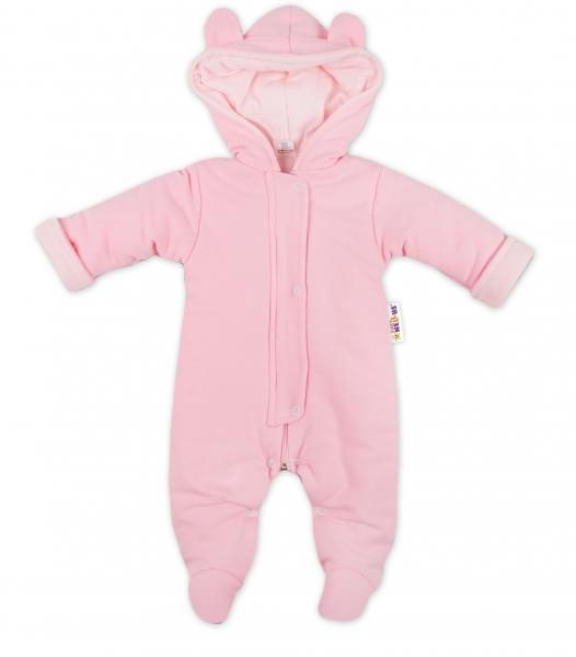 Oteplený overálek/kombinézka s kapuci a oušky Baby Nellys ® - růžový, Velikost: 62 (2-3m)