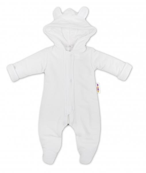 Oteplený overálek/kombinézka s kapuci a oušky Baby Nellys ® - bílý, vel. 68, Velikost: 68 (4-6m)