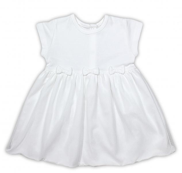 Šatičky NICOL PŘÁTELÉ s mašličkou - BIO bavlna - krátký rukáv - smetanové, Velikost: 98 (24-36m)