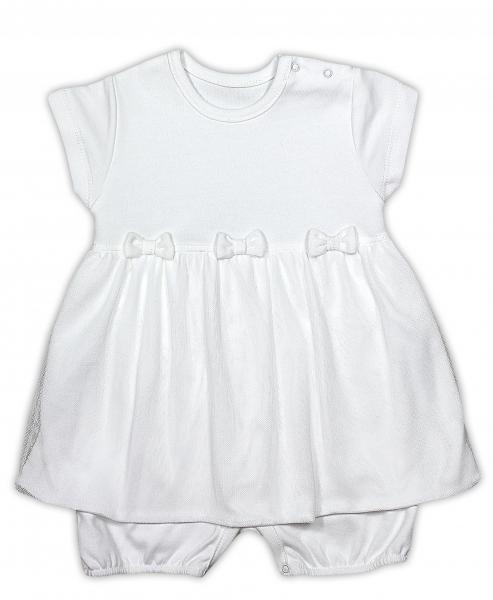 Sukničkobody NICOL PŘÁTELÉ s mašličkou - BIO bavlna - krátký rukáv - smetanové