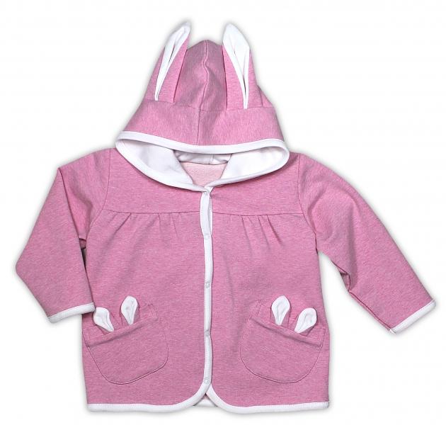 Kabátek/mikinka NICOL PŘÁTELÉ - růžová s oušky, Velikost: 92 (18-24m)