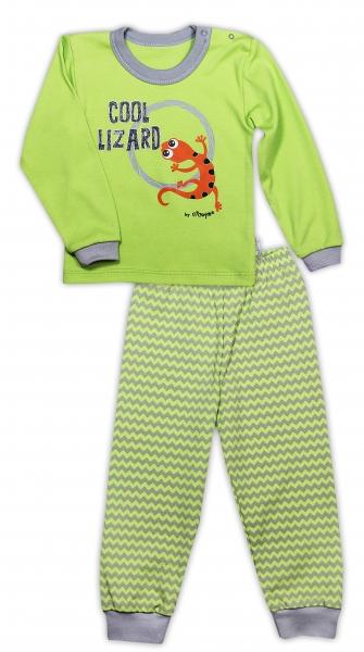 Bavlněné pyžamko NICOL JEŠTĚRKA - zigzag/hráškově zelená, Velikost: 80 (9-12m)
