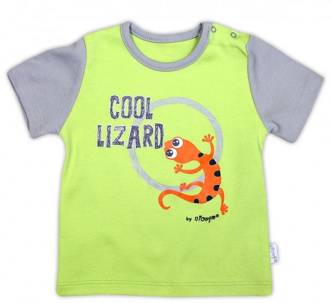 Bavlněné tričko NICOL JEŠTĚRKA - krátký rukáv - hráškově zelená, Velikost: 74 (6-9m)