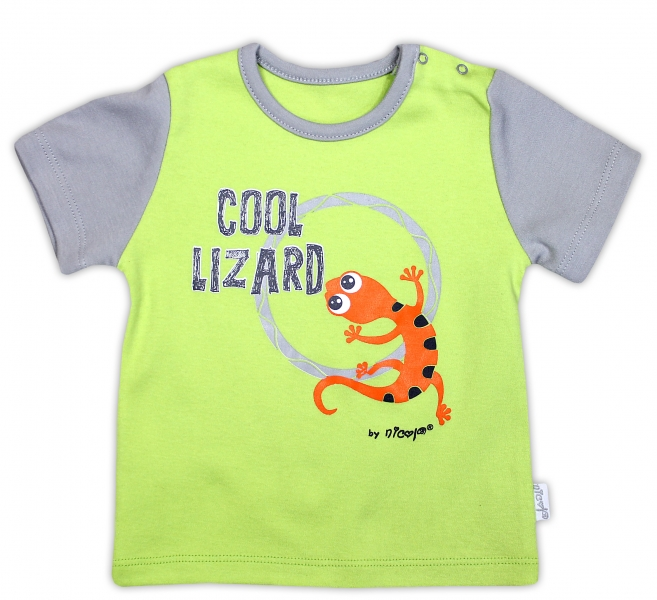 Bavlněné tričko NICOL JEŠTĚRKA - krátký rukáv - hráškově zelená, Velikost: 98 (24-36m)