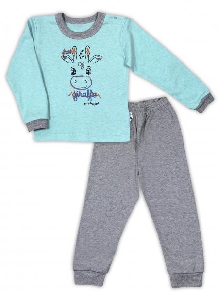 Bavlněné pyžamko NICOL ŽIRAFKA - mátová/šedá melír