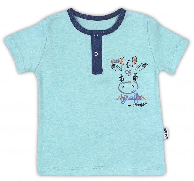 Bavlněné tričko NICOL ŽIRAFKA - krátký rukáv - mátová, Velikost: 80 (9-12m)