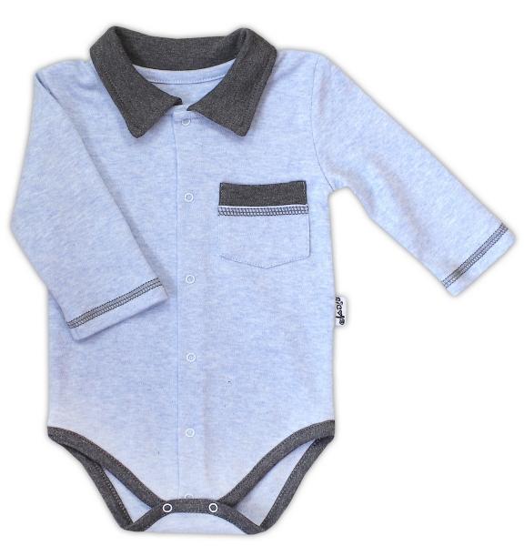 Bavlněné body NICOL AUTO s límečkem - dlouhý rukáv - zapínání středem - melír sv. modrá