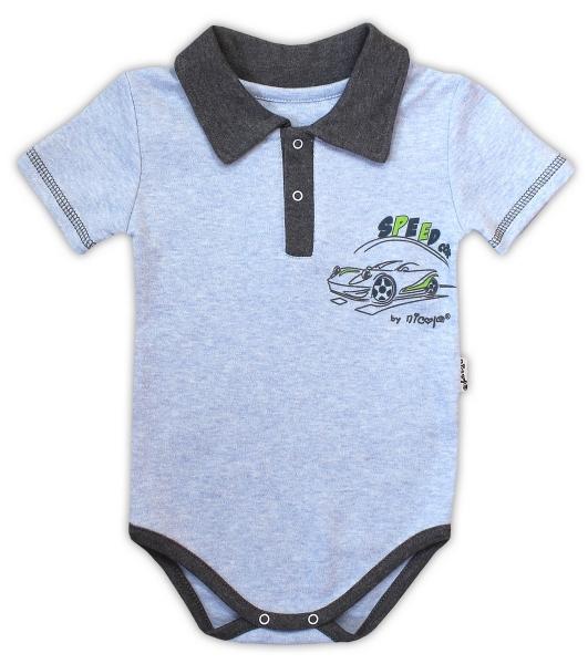 Bavlněné body NICOL AUTO s límečkem - krátký rukáv - melír sv. modrá
