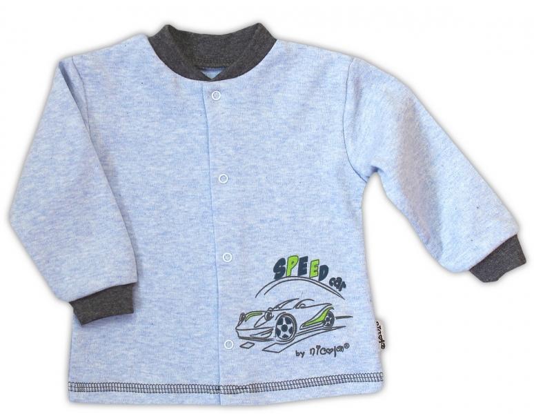 Bavlněná košilka NICOL AUTO - melír sv. modrá, Velikost: 80 (9-12m)