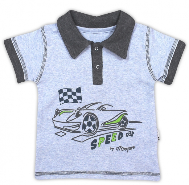 Bavlněné tričko/polo NICOL AUTO - krátký rukáv - melír sv. modrá, Velikost: 80 (9-12m)