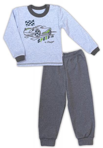 Bavlněné pyžamko NICOL AUTO - melír sv. modrá/tm. šedá, Velikost: 80 (9-12m)