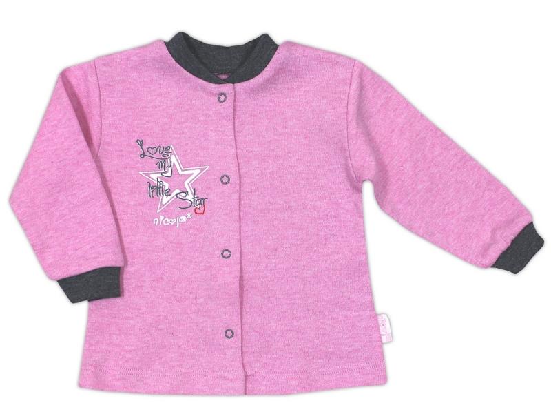Bavlněná košilka NICOL SUPERSTAR - melír růžová, Velikost: 68 (4-6m)