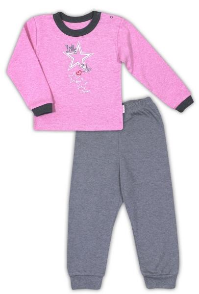 Bavlněné pyžamko NICOL SUPERSTAR - melír růžová/tm. šedá, Velikost: 80 (9-12m)