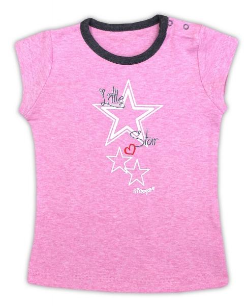 Bavlněné tričko NICOL SUPERSTAR - krátký rukáv - melír růžová, Velikost: 74 (6-9m)