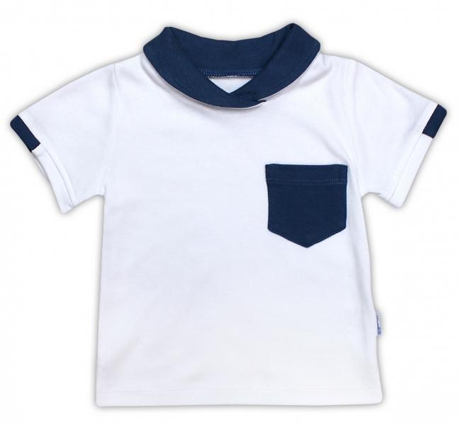Bavlněné tričko/polo NICOL SEDMIČKA - krátký rukáv - bílá, Velikost: 74 (6-9m)