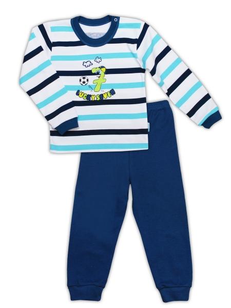 Bavlněné pyžamko NICOL SEDMIČKA - proužek/tmavě modrá, Velikost: 80 (9-12m)