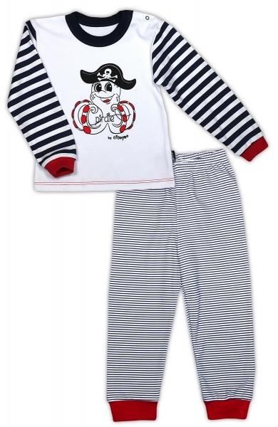 Bavlněné pyžamko NICOL PIRÁTI - bílá/proužek