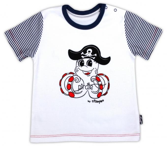 Bavlněné tričko NICOL PIRÁTI - krátký rukáv - bílá, Velikost: 80 (9-12m)